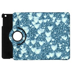 Hearts On Sparkling Glitter Print, Teal Apple Ipad Mini Flip 360 Case by MoreColorsinLife