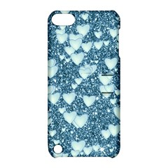 Hearts On Sparkling Glitter Print, Teal Apple Ipod Touch 5 Hardshell Case With Stand by MoreColorsinLife