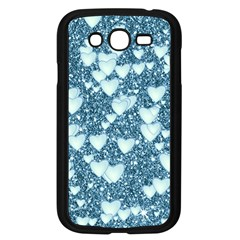 Hearts On Sparkling Glitter Print, Teal Samsung Galaxy Grand Duos I9082 Case (black) by MoreColorsinLife
