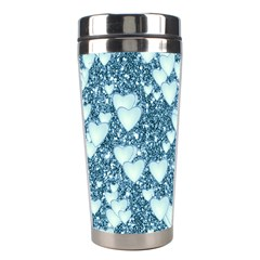 Hearts On Sparkling Glitter Print, Teal Stainless Steel Travel Tumblers by MoreColorsinLife