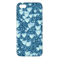 Hearts On Sparkling Glitter Print, Teal Iphone 5s/ Se Premium Hardshell Case by MoreColorsinLife