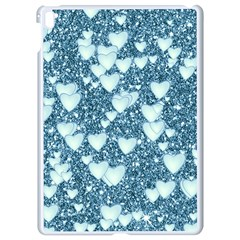 Hearts On Sparkling Glitter Print, Teal Apple Ipad Pro 9 7   White Seamless Case by MoreColorsinLife
