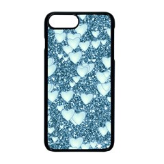 Hearts On Sparkling Glitter Print, Teal Apple Iphone 8 Plus Seamless Case (black) by MoreColorsinLife