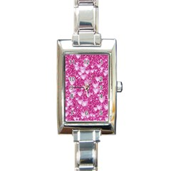 Hearts On Sparkling Glitter Print, Pink Rectangle Italian Charm Watch by MoreColorsinLife