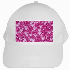 Hearts On Sparkling Glitter Print, Pink White Cap by MoreColorsinLife