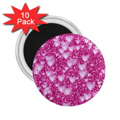 Hearts On Sparkling Glitter Print, Pink 2 25  Magnets (10 Pack)  by MoreColorsinLife