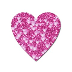 Hearts On Sparkling Glitter Print, Pink Heart Magnet by MoreColorsinLife