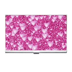 Hearts On Sparkling Glitter Print, Pink Business Card Holders by MoreColorsinLife