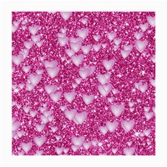 Hearts On Sparkling Glitter Print, Pink Medium Glasses Cloth (2 Side) by MoreColorsinLife