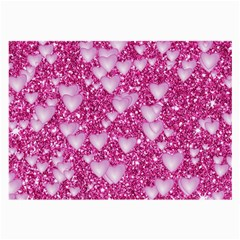 Hearts On Sparkling Glitter Print, Pink Large Glasses Cloth (2 Side) by MoreColorsinLife