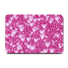 Hearts On Sparkling Glitter Print, Pink Small Doormat  by MoreColorsinLife