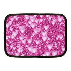 Hearts On Sparkling Glitter Print, Pink Netbook Case (medium)  by MoreColorsinLife