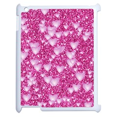 Hearts On Sparkling Glitter Print, Pink Apple Ipad 2 Case (white) by MoreColorsinLife