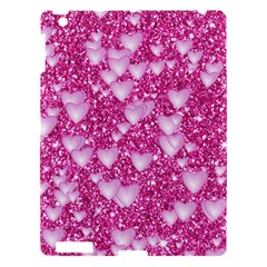 Hearts On Sparkling Glitter Print, Pink Apple Ipad 3/4 Hardshell Case by MoreColorsinLife