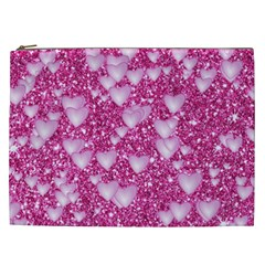 Hearts On Sparkling Glitter Print, Pink Cosmetic Bag (xxl)  by MoreColorsinLife