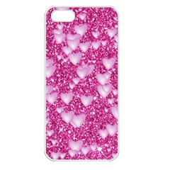 Hearts On Sparkling Glitter Print, Pink Apple Iphone 5 Seamless Case (white) by MoreColorsinLife