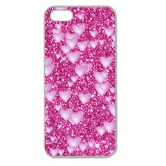Hearts On Sparkling Glitter Print, Pink Apple Seamless Iphone 5 Case (clear) by MoreColorsinLife