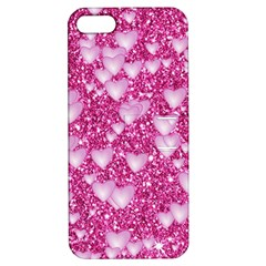 Hearts On Sparkling Glitter Print, Pink Apple Iphone 5 Hardshell Case With Stand by MoreColorsinLife