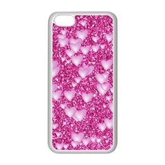Hearts On Sparkling Glitter Print, Pink Apple Iphone 5c Seamless Case (white) by MoreColorsinLife