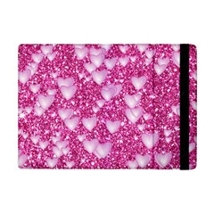 Hearts On Sparkling Glitter Print, Pink Ipad Mini 2 Flip Cases by MoreColorsinLife
