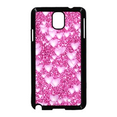 Hearts On Sparkling Glitter Print, Pink Samsung Galaxy Note 3 Neo Hardshell Case (black) by MoreColorsinLife