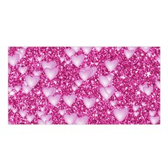Hearts On Sparkling Glitter Print, Pink Satin Shawl by MoreColorsinLife