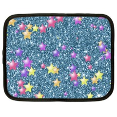 Stars On Sparkling Glitter Print, Blue Netbook Case (xxl)  by MoreColorsinLife