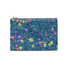 Stars On Sparkling Glitter Print, Blue Cosmetic Bag (medium)  by MoreColorsinLife