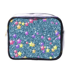 Stars On Sparkling Glitter Print, Blue Mini Toiletries Bags by MoreColorsinLife
