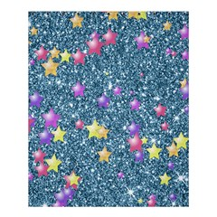 Stars On Sparkling Glitter Print, Blue Shower Curtain 60  X 72  (medium)  by MoreColorsinLife