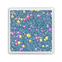 Stars On Sparkling Glitter Print, Blue Memory Card Reader (square)  by MoreColorsinLife