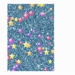 Stars On Sparkling Glitter Print, Blue Small Garden Flag (two Sides) by MoreColorsinLife