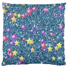 Stars On Sparkling Glitter Print, Blue Large Cushion Case (one Side) by MoreColorsinLife