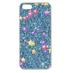 Stars On Sparkling Glitter Print, Blue Apple Seamless Iphone 5 Case (clear) by MoreColorsinLife