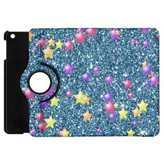 Stars On Sparkling Glitter Print, Blue Apple Ipad Mini Flip 360 Case by MoreColorsinLife