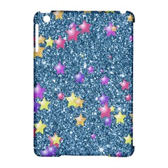 Stars On Sparkling Glitter Print, Blue Apple Ipad Mini Hardshell Case (compatible With Smart Cover) by MoreColorsinLife