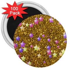 Stars On Sparkling Glitter Print,golden 3  Magnets (100 Pack) by MoreColorsinLife