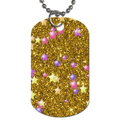 Stars On Sparkling Glitter Print,golden Dog Tag (two Sides) by MoreColorsinLife