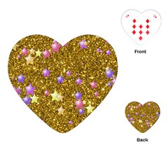 Stars On Sparkling Glitter Print,golden Playing Cards (heart)  by MoreColorsinLife