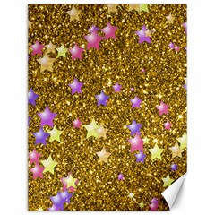 Stars On Sparkling Glitter Print,golden Canvas 12  X 16   by MoreColorsinLife