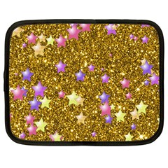Stars On Sparkling Glitter Print,golden Netbook Case (large) by MoreColorsinLife