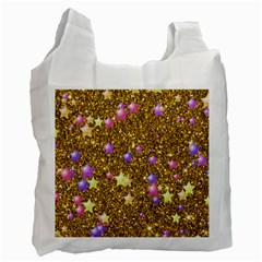 Stars On Sparkling Glitter Print,golden Recycle Bag (one Side) by MoreColorsinLife