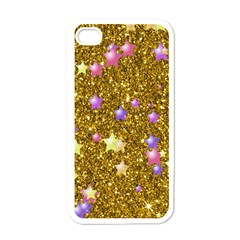 Stars On Sparkling Glitter Print,golden Apple Iphone 4 Case (white) by MoreColorsinLife