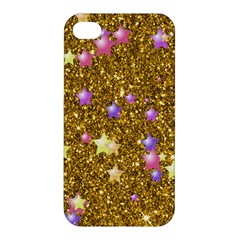 Stars On Sparkling Glitter Print,golden Apple Iphone 4/4s Hardshell Case by MoreColorsinLife