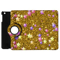 Stars On Sparkling Glitter Print,golden Apple Ipad Mini Flip 360 Case by MoreColorsinLife