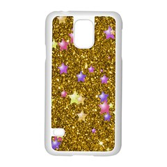 Stars On Sparkling Glitter Print,golden Samsung Galaxy S5 Case (white) by MoreColorsinLife