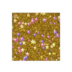 Stars On Sparkling Glitter Print,golden Satin Bandana Scarf by MoreColorsinLife