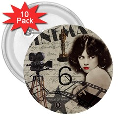 Vintage Cinema 3  Buttons (10 Pack)  by Valentinaart