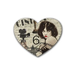 Vintage Cinema Rubber Coaster (heart)  by Valentinaart