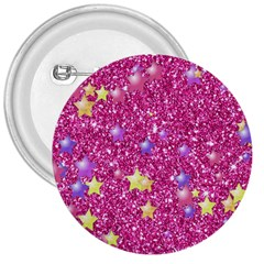 Stars On Sparkling Glitter Print,pink 3  Buttons by MoreColorsinLife